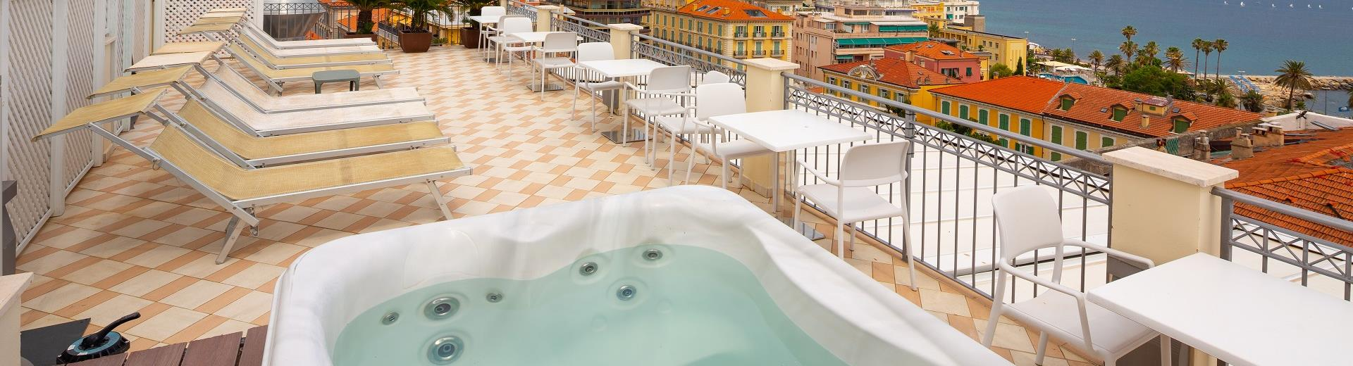 Relax in the rooftop terrace of our Sanremo hotel with jacuzzi